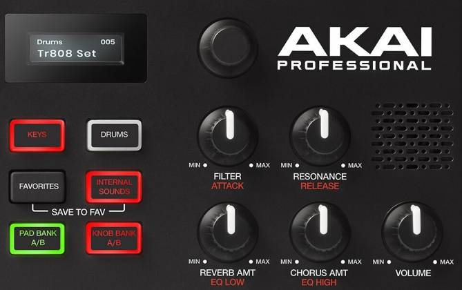 Akai MPKMINIPLAYXUS Compact 25 Note Keyboard and Pad MIDI Controller with Built-in Speakers mpk-mini-play-xus Product Image 3