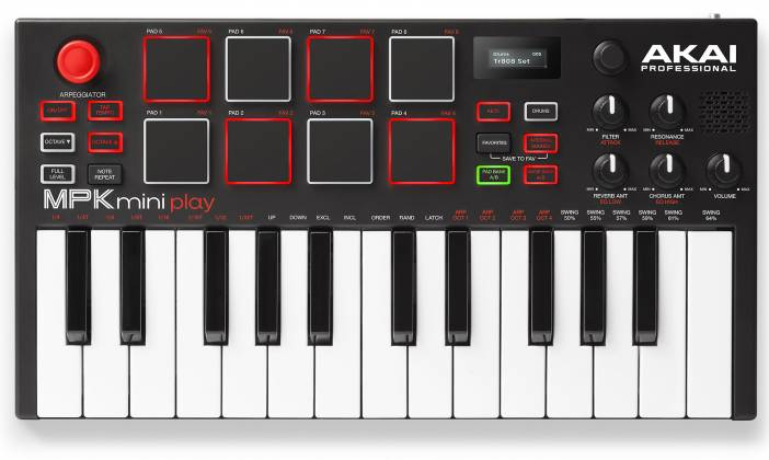 Akai MPKMINIPLAYXUS Compact 25 Note Keyboard and Pad MIDI Controller with Built-in Speakers mpk-mini-play-xus Product Image 9