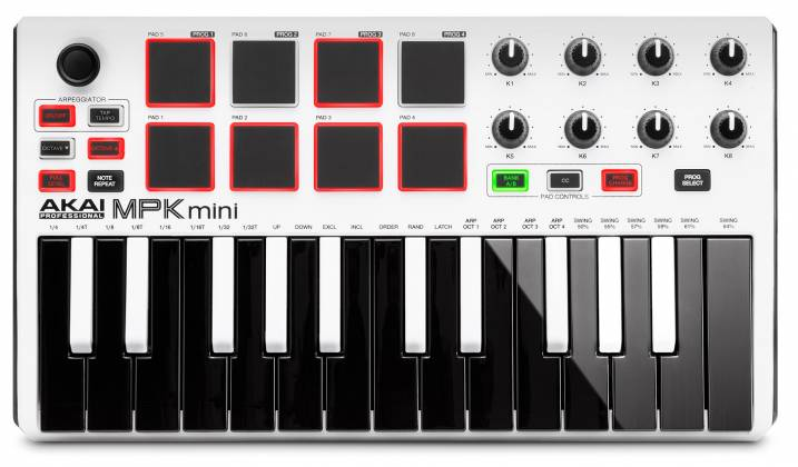 Akai MPKMINI2WHITE Limited Edition 25 Key Portable USB MIDI Keyboard Product Image 7