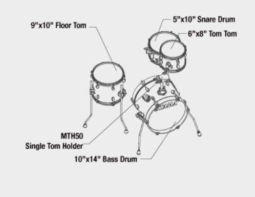 Tama LJK44H4-CPM 4-Piece Club-Jam Flyer Drum Kit with Hardware-Candy Apple Mist Product Image 3