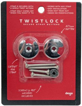 Diago GH01C Twistock Guitar/Bass Secure Strap Buttons-Chrome (discontinued clearance) gh-01-c Product Image 7
