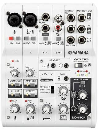 Yamaha AG06 6-channel Mixer and USB Audio Interface ag-06 Product Image