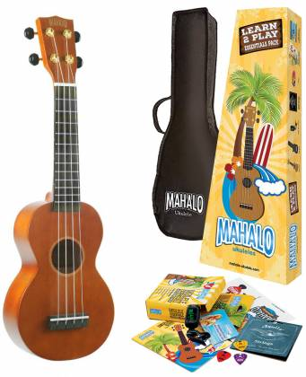 Mahalo Ukuleles MR1-TBR-K Rainbow Series Learn 2 Play Pack Soprano Transparent Brown 4 String RH Ukulele and Accessories mr-1-tbr-k Product Image