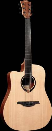 Lag TL70DCE Tramontane Series 6-String LH Dreadnought Cutaway Acoustic Electric Guitar-Natural Satin tl-70-dce Product Image 3