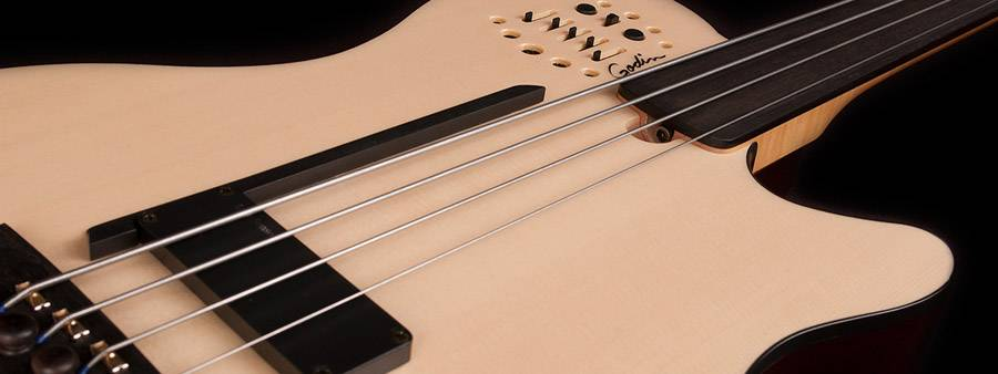 Godin 033645-d A4 Ultra Natural SG Fretless EN SA 4 String RH Bass with Gig Bag Product Image 2