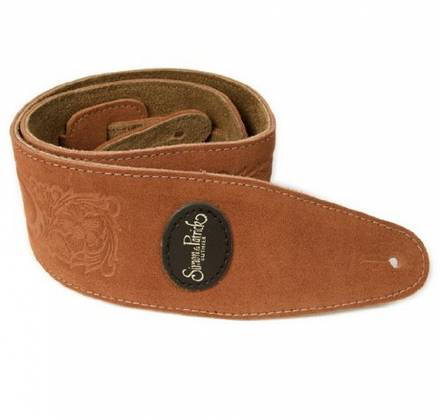 Simon & Patrick 037322 Rust Western Suede w/Patch Logo Guitar Strap Product Image 2
