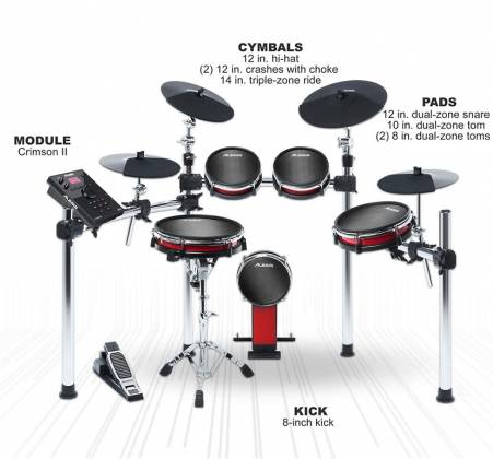 Alesis CrimsonIIKit 9-Piece Electronic Drum Kit with Mesh Heads Product Image 2