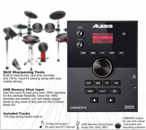 Alesis CrimsonIIKit 9-Piece Electronic Drum Kit with Mesh Heads Product Image 3