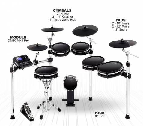 Alesis DM10MKIIPROKITXUS Pro Premium Ten-Piece Electronic Drum Kit with Mesh Heads Product Image 3