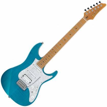Ibanez AZ2204F-TAB Prestige 6-String Electric Guitar with Case - Transparent Aqua Blue Product Image 2
