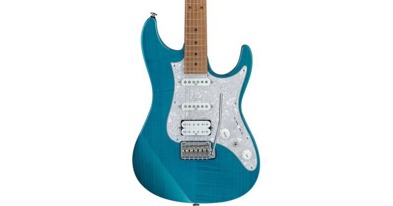 Ibanez AZ2204F-TAB Prestige 6-String Electric Guitar with Case - Transparent Aqua Blue Product Image 3