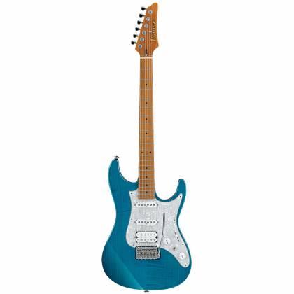 Ibanez AZ2204F-TAB Prestige 6-String Electric Guitar with Case - Transparent Aqua Blue Product Image 4