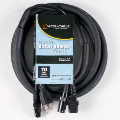 American DJ SKAC10 Audio Data and Power 10 Foot AC/XLR Combo Cable Product Image 2