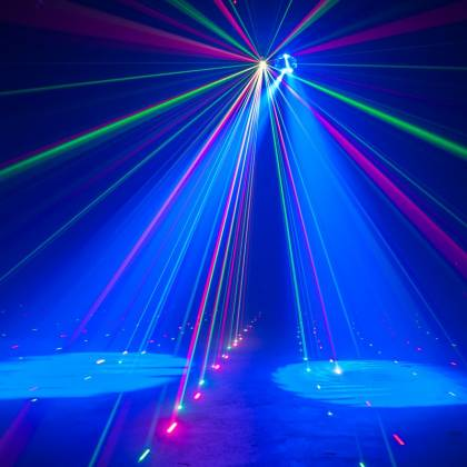 American DJ STINGER-GOBO 3-FX-IN-1 LED Moonflower with Gobos, Color Wash Effects and Red/Green Laser Product Image 4
