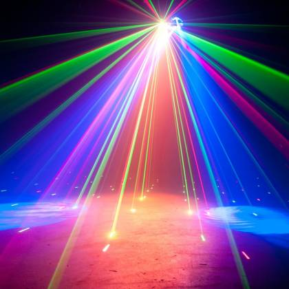 American DJ STINGER-GOBO 3-FX-IN-1 LED Moonflower with Gobos, Color Wash Effects and Red/Green Laser Product Image 6