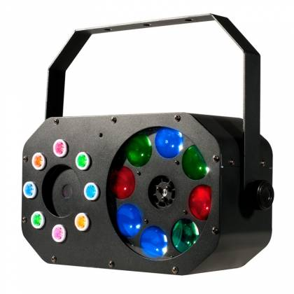 American DJ STINGER-GOBO 3-FX-IN-1 LED Moonflower with Gobos, Color Wash Effects and Red/Green Laser Product Image 3