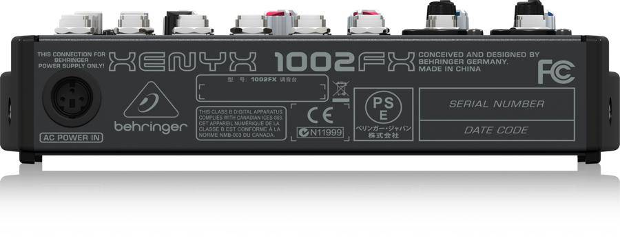 Behringer 1002FX Xenyx Series Premium 10-Input 2-Bus Mixer with British EQs and Multi-FX Processor Product Image 5