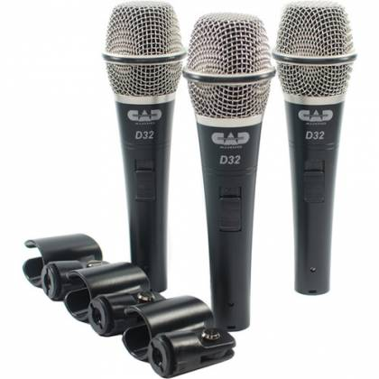 CAD Audio D32X3 CADLive D32 Supercardioid Dynamic Handheld Microphone (3 Pack) Product Image 2