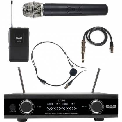CAD Audio GXLD2HBAH Digital Dual-Channel Wireless Microphone System with Handheld and Bodypack Transmitters (AH: 902.9 to 915.5 MHz) Product Image 5