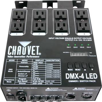 Chauvet DJ DMX4 2.0 Four Channel Dimmer/Relay Pack  Product Image 3