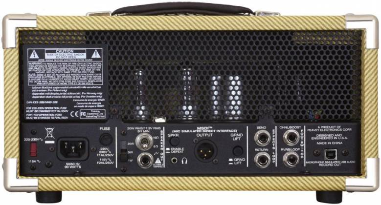 Peavey 03614150 CLASSIC 20 MH 20W/5W/1W Tube Guitar Amplifier Head with 2 Channels Product Image 5