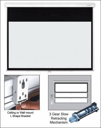 "Grandview CB-P 94 Cyber Series Commercial Designer 94"" Manual Pull-Down Screen 16:10 Format White Casing Product Image 2"
