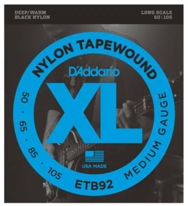 D'Addario ETB92 Medium Tapewound Electric Bass Strings Long Gauge 50-105 etb-92 Product Image