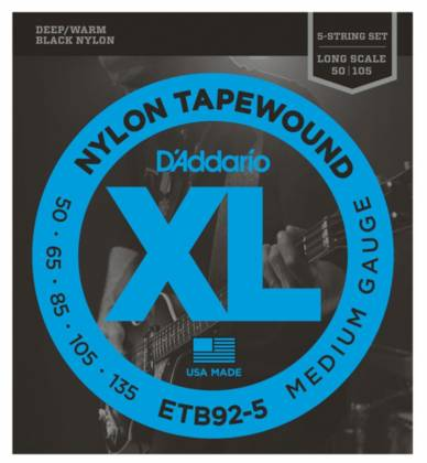 D'Addario ETB92-5 Tapewound 5-String Electric Bass Strings Long Gauge 50-135 etb-92-5 Product Image