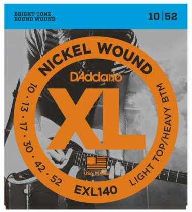 D'Addario EXL140 Light Top/Heavy Bottom XL Nickel Wound Electric Guitar Strings 10-52 Product Image 2