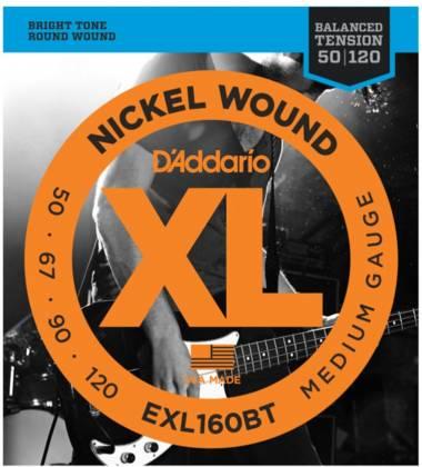 D'Addario EXL160BT Balanced Tension Medium XL Nickel Wound Electric Bass Strings Long Gauge 50-120 exl-160-bt Product Image