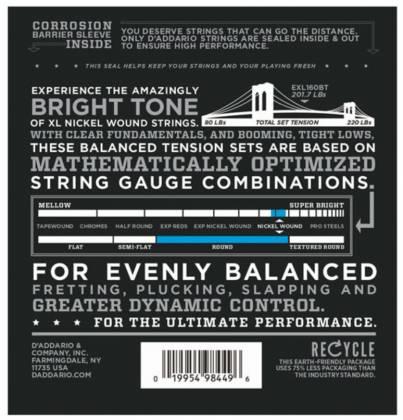 D'Addario EXL160BT Balanced Tension Medium XL Nickel Wound Electric Bass Strings Long Gauge 50-120 exl-160-bt Product Image 2