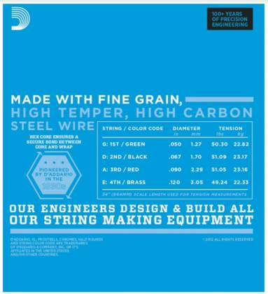D'Addario EXL160BT Balanced Tension Medium XL Nickel Wound Electric Bass Strings Long Gauge 50-120 exl-160-bt Product Image 3