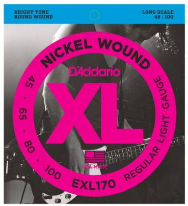 D'Addario EXL170 Light XL Nickel Wound Electric Bass Strings Long Scale Gauge 45-100 exl-170 Product Image