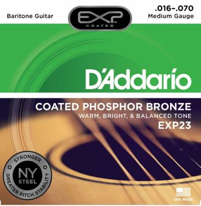 D'Addario EXP23 Coated Phosphor Bronze Acoustic Baritone Guitar Gauge 16-70 exp-23 Product Image