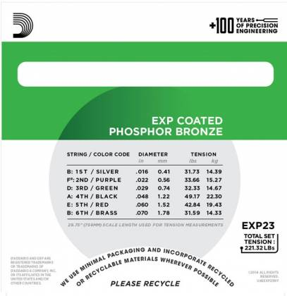 D'Addario EXP23 Coated Phosphor Bronze Acoustic Baritone Guitar Gauge 16-70 exp-23 Product Image 3