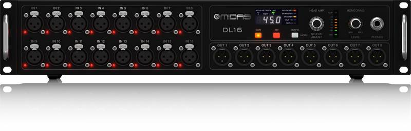 Midas DL16 ULTRANET and ADAT Interface 16 Input 8 Output Stage Box with 16 Microphone Preamplifiers Product Image 5