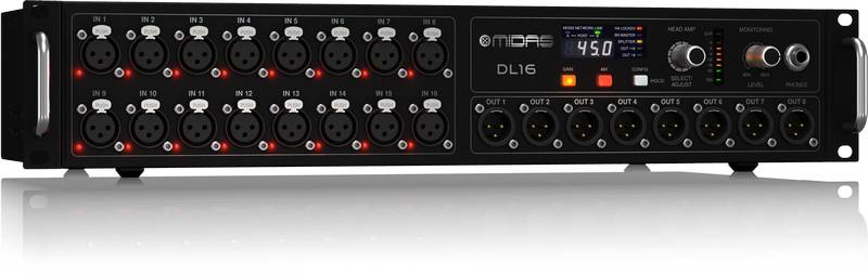 Midas DL16 ULTRANET and ADAT Interface 16 Input 8 Output Stage Box with 16 Microphone Preamplifiers Product Image 4