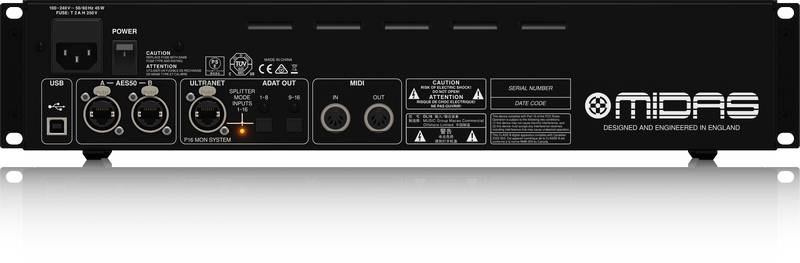 Midas DL16 ULTRANET and ADAT Interface 16 Input 8 Output Stage Box with 16 Microphone Preamplifiers Product Image 3