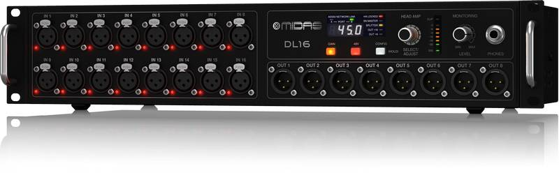 Midas DL16 ULTRANET and ADAT Interface 16 Input 8 Output Stage Box with 16 Microphone Preamplifiers Product Image 2