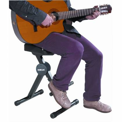 Quiklok DX749 Height Adjustable Musicians Stool with adjustable Footrest and Back Rest Product Image 2