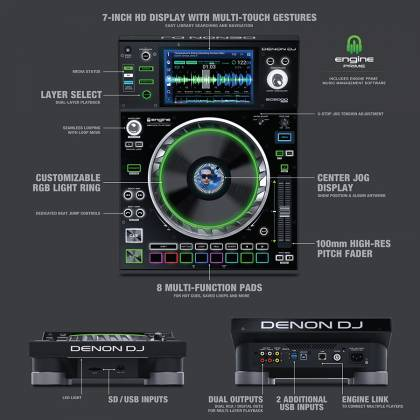 Denon DJ SC5000 PRIME Professional Media Player and Controller with 7 Inch Multi-Touch Display Product Image 3