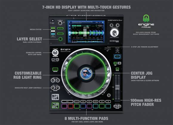 Denon DJ SC5000 PRIME Professional Media Player and Controller with 7 Inch Multi-Touch Display Product Image 4
