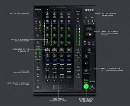 Denon DJ X1800 PRIME Professional 4 Channel DJ Club Mixer Product Image 8