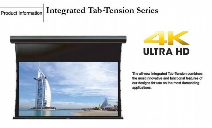 Grandview GV-TT150 LF-MIR 150 Integrated Tab-Tension Motorized Screen with Black Casing 16:9 Format Product Image 3
