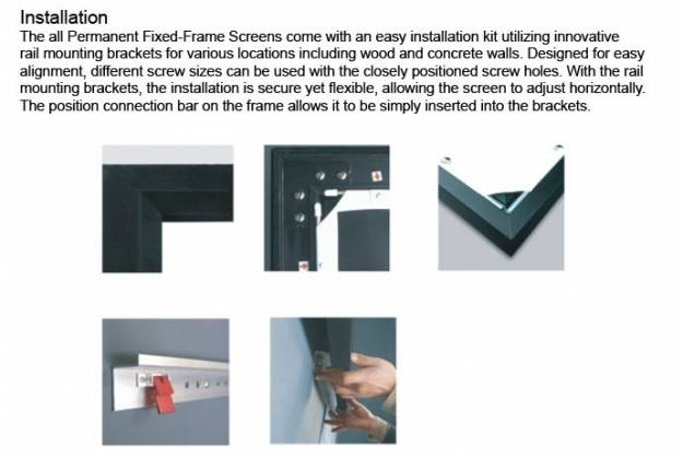 Grandview GV-PM084 LF-PU 84 Prestige Series Permanent Fixed Frame Screen 16:9 Format Product Image 8