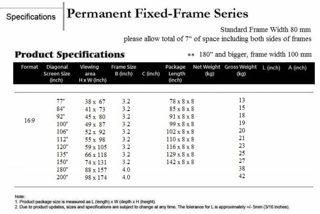 Grandview GV-PM084 LF-PU 84 Prestige Series Permanent Fixed Frame Screen 16:9 Format Product Image 6