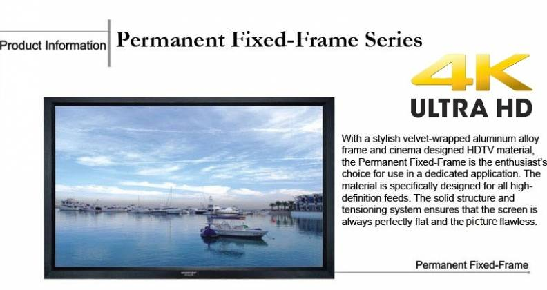 Grandview GV-PM084 LF-PU 84 Prestige Series Permanent Fixed Frame Screen 16:9 Format Product Image 3