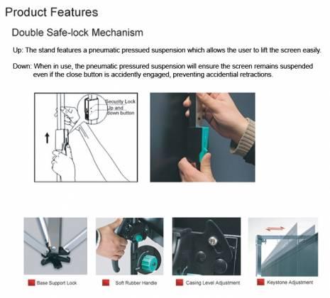"Grandview PT-L 96 Classic Tripod Portable 96"" Screen (Commercial Grade) 1:1 Format Product Image 5"
