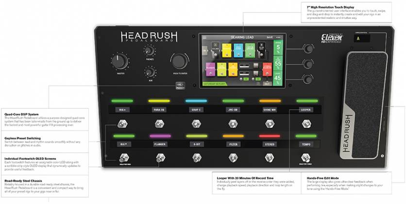 HeadRush Pedalboard Programmable Guitar Pedal board with 7 Inch High Resolution Touch Display Product Image 6