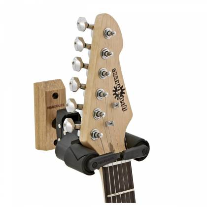 Hercules GSP38WB+ Auto-Grip Wallmount Guitar Hanger - Wood Base, Short Arm fits multiple instruments  gsp-38-wb-plus Product Image 4